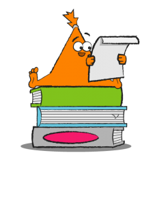 Orange triangle-shaped character sitting on a stack of books reading a paper