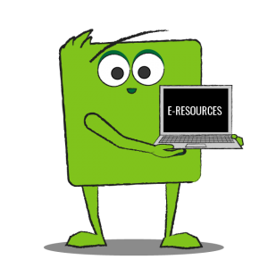 Green square-shaped character holding laptop that says e-resources