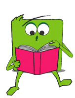 Green square-shaped character reading a book