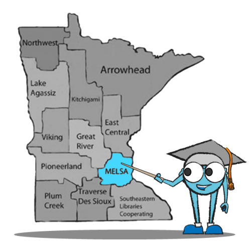 Blue circle character pointing at map of Minnesota and the Minneapolis / St Paul area where MELSA serves